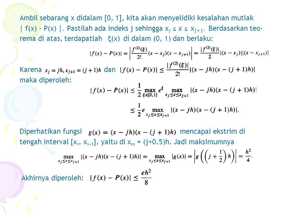 Ambil sebarang x didalam [0, 1], kita akan menyelidiki kesalahan mutlak